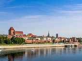 Panorama of old town Torun over the Vistula river, Poland