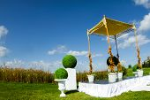 stock photo of covenant  - An Outdoor Jewish Wedding ceremony and Chuppa - JPG