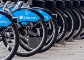 LONDON, UK - CIRCA JULY 2011: Detail of a Barclays Cycle Hire station. Barclays Cycle Hire is a public bicycle sharing scheme launched on July 30, 2010.