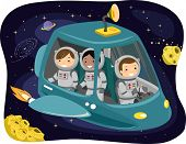 Illustration of Kids Wearing Space Suits Riding a Space Ship