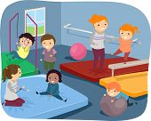 Illustration of Kids Practicing Different Gymnastic Routines