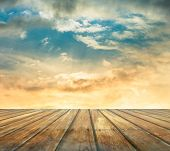 sunset sky and wood floor, filtered background image
