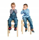 Kids Making Odor Gesture Over White Background