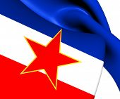 stock photo of yugoslavia  - 3D Flag of the Yugoslavia - JPG