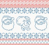 Knitted pattern with santa claus vector illustration