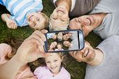 picture of extended family  - Hand holding smartphone showing extended family lying in circle at park - JPG