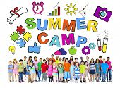 Multi-Ethnic Group of Children with Summer Camp Concepts