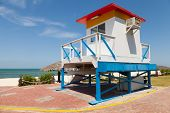Colorful Lifeguard Tower On The Beach In Sunny Day