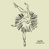 stock photo of ballerina  - art sketched beautiful young ballerina with tutu in ballet dance on studio - JPG