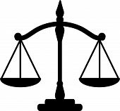 stock photo of justice law  - Vector illustration of black  silhouette of justice scales - JPG