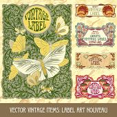 Vector vintage items: label art nouveau