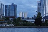 Frankfurt - Towers Of Banking Companies With Rain Clouds In The Evening