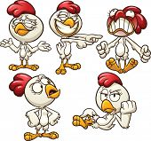 Cartoon hen with different emotions. Vector clip art illustration with simple gradients. Each on a s