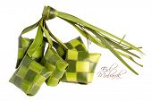 Muslim Ketupat (Rice Dumpling) with Clipping Path. Translation: Eid Mubarak - Blessed Feast