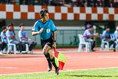 Sisaket Thailand-october 29: Lineman In Action During Thai Premier League Match Between Sisaket Fc A