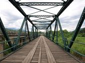 Historical bridge over the Pai river in Mae hong son, Thailand.