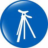 Photo Tripod Web Icon, Button Isolated On White