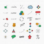 Simple colorful hand drawn icons. Business and start up. Vector illustration. Easy to paste to any b