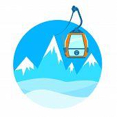 Ski lift. Vector illustration.
