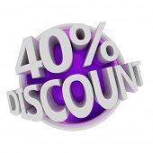 3d rendered purple discount button - 40%