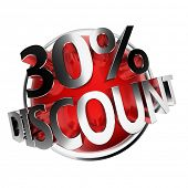 3d rendered red discount button - 30%