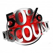3d rendered red discount button - 50%