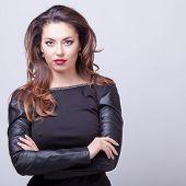 Sexy Woman Professional Make Up Grey Background