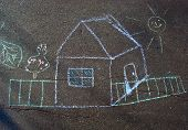 The House - Children's Drawing A Chalk On Asphalt