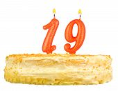 Birthday Cake Candles Number Nineteen Isolated
