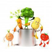 3d rendered illustration of a cooking pot full of vegetables