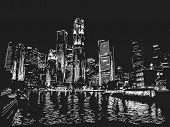 Singapore skyline at night. View from river side. Hand drawn
