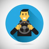 foto of car symbol  - Happy Smiling Driver Character with Car Wheel Ride Driving City Symbol Flat Design Element Vector Illustration - JPG