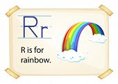 A letter R for rainbow on a white background