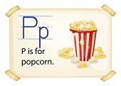 A letter P for popcorn on a white background