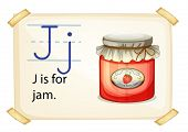 A letter J for jam on a white background