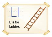 A letter L for ladder on a white background