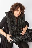 Woman With Keyboard around her neck