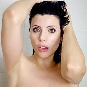 Woman Surprised Under The Shower