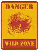 warning sign. danger signal with gorilla eye. eps8