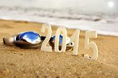 2015 New Year Numbers On The Sea Beach