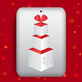 The Tablet With Gift Box Vector