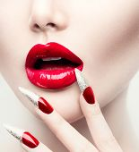 stock photo of long nails  - Makeup and Manicure - JPG