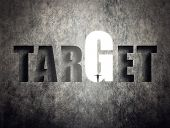 Concept of target, goal, will etc, man stand on wall with text.