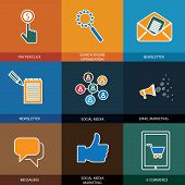 Marketing, Social Media, Seo & E-commerce - Concept Vector Icons