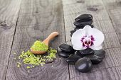 Moth Orchid And Black Stones