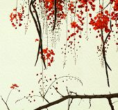 Red Blossom Tree On Handmade Paper