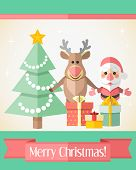 Christmas Card With Santa Claus And Reindeer And Presents