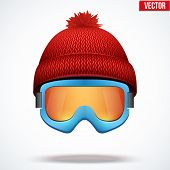 Knitted woolen red cap with snow goggles. Winter seasonal sport hat. vector illustration