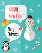 Christmas Card With Snowman And Penguin And Speech Bubbles