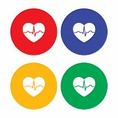 Set of flat simple heart icons